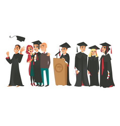 College graduates boys and girl in caps and gowns vector