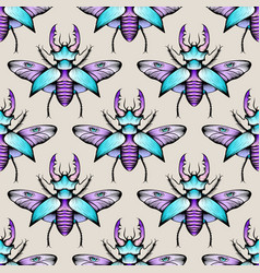 colorful seamless stag beetles pattern background vector image