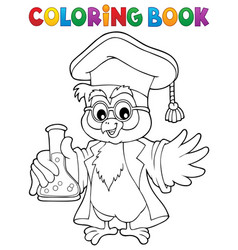 coloring book chemistry owl teacher 1 vector image