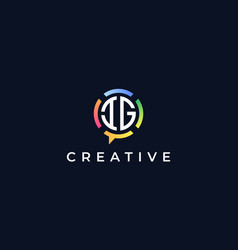 Creative chat initial letters ig logo vector