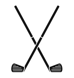 Crossed golf sticks icon simple style vector