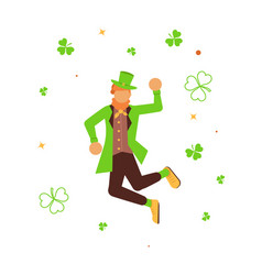 cute cartoon leprechaun dancing vector image