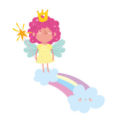 cute little fairy with crown standing on rainbow vector image