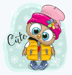 Cute owl in a hat and waiscoat vector