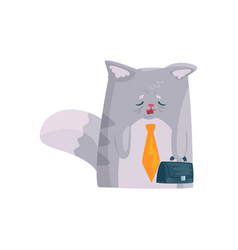 cute tired businessman cat with briefcase funny vector image