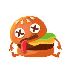 Dead burger cute cartoon fast food emoji character vector