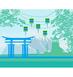 Decorative Chinese landscape vector