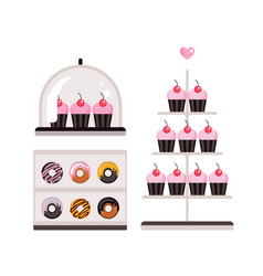 delicious sweet desserts donuts cupcakes isolated vector image
