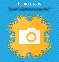 Digital photo camera Floral flat design on a blue vector