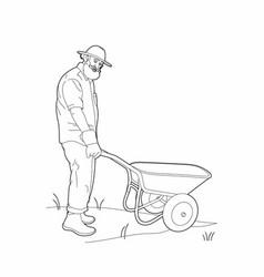 Drawing of a gardener with a wheelbarrow vector
