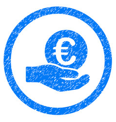 Euro salary hand rounded icon rubber stamp vector