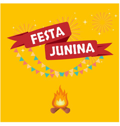 festa junina red ribbon flag fireworks orange whit vector image