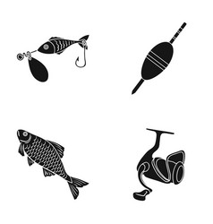 Fishing fish catch hook fishing set collection vector