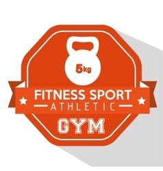 Fitness sport athletic gym kettlebell orange badge vector