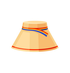 flat icon of hat with bright ribbon vector image