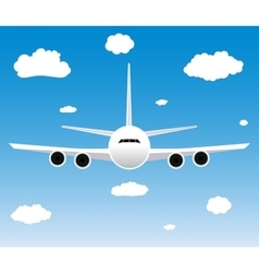 Flight of the plane in the sky vector image