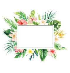 Flower border with rectangle blank area wedding vector