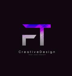 Ft letter logo design purple texture creative vector