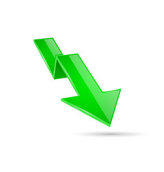 Green indication arrow moving down 3d financinal vector