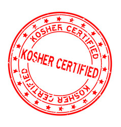 Grunge red kosher certified word squre rubber vector