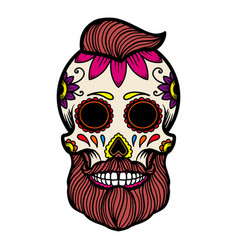 Hand drawn mexican bearded sugar skull isolated vector