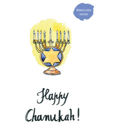 Hanukkah with all candles lit jewish vector