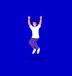 Happy boy jumping cartoon vector