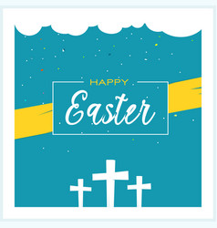 happy easter greeting card design with crosses vector image