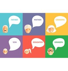 Happy Family Father Mother Grandpa Grandma Son and vector image