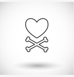 heart and crossbones thin line web icon vector image