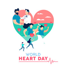 Heart day concept of healthy people lifestyle vector