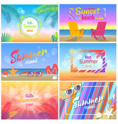 Hello summer 2018 sunset beach party summer mood vector