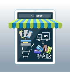 Internet shopping concept smartphone with awning vector