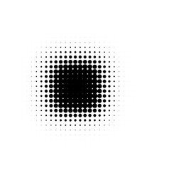 isolated black color abstract round shape halftone vector image