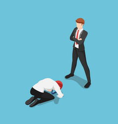 Isometric businessman prostrated in front of vector