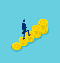 isometric businessman walking on money step to vector image
