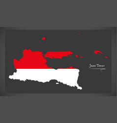 jawa timur indonesia map with indonesian national vector image