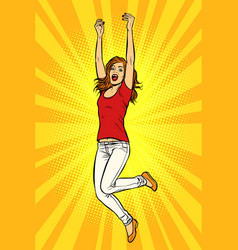 joyful young woman jumping up vector image