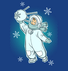 little boy astronaut space satellite in hands vector image