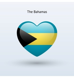 Love Bahamas symbol Heart flag icon vector