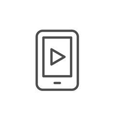 mobile video line icon vector image