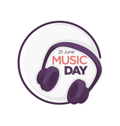 Music day isolated icon headphones musical vector