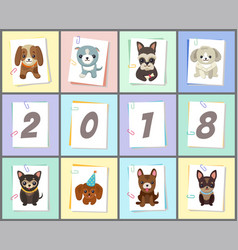 New year 2018 symbol dog vector