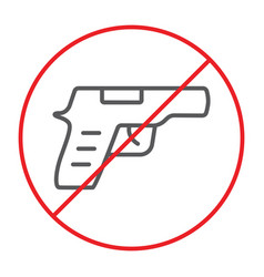 No gun thin line icon prohibited and restriction vector