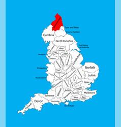 Northumberland county map north east england uk vector
