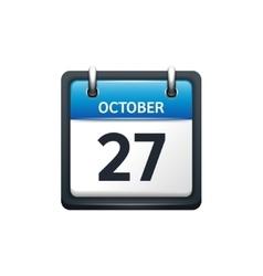 October 27 calendar icon flat vector
