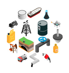 Oil industry isometric 3d icons vector