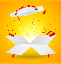 open box with gold and red confetti isolated on vector image