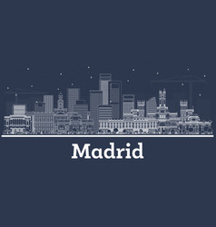 Outline madrid spain city skyline with white vector