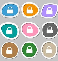 Pad Lock icon symbols Multicolored paper stickers vector